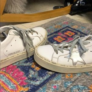 Real Golden Goose Hi Star White/Silver Sneakers